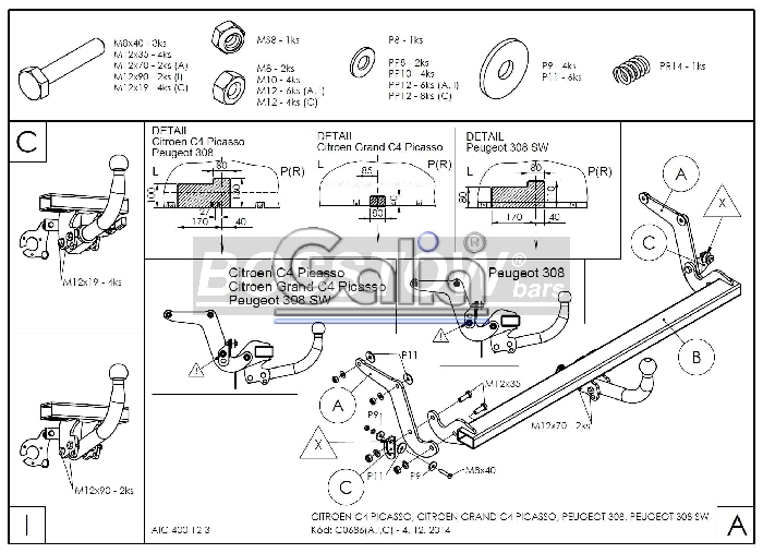 Anhängerkupplung für Peugeot-308 - 2013- Fließheck Ausf.:  horizontal
