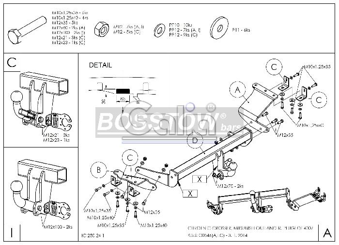 Anhängerkupplung für Peugeot-4007 - 2007- Ausf.:  horizontal