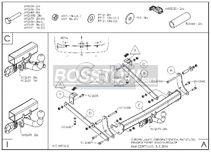 Anhängerkupplung für Peugeot-Expert - 2008-2016 Kasten/ Bus/ Kombi, Fzg. mit Niveauregulierung Ausf.:  horizontal