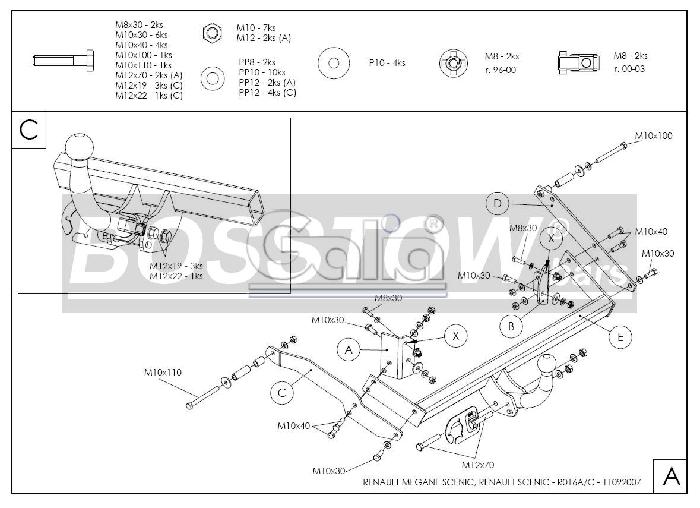 Anhängerkupplung für Renault-Scenic - 1999-2000 Scenic I, nicht 2. 0 16V Ausf.:  horizontal
