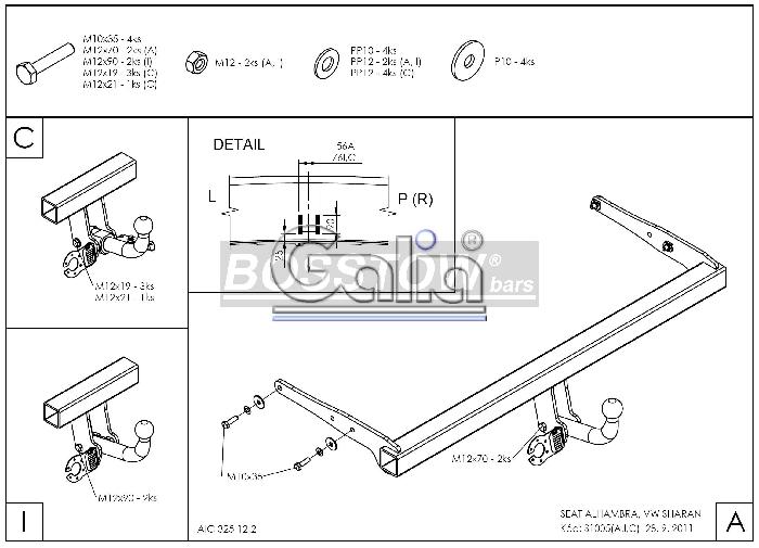 Anhängerkupplung für Seat-Alhambra - 2013- incl 4x4 Ausf.:  horizontal