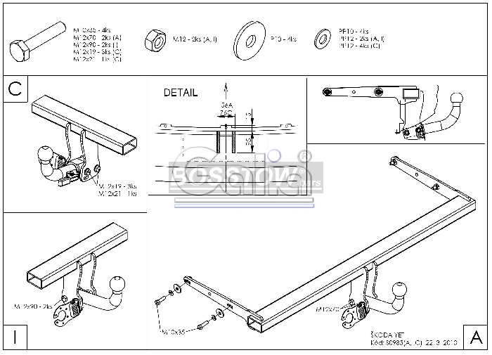 Anhängerkupplung für Skoda-Yeti - 2014- Ausf.:  horizontal