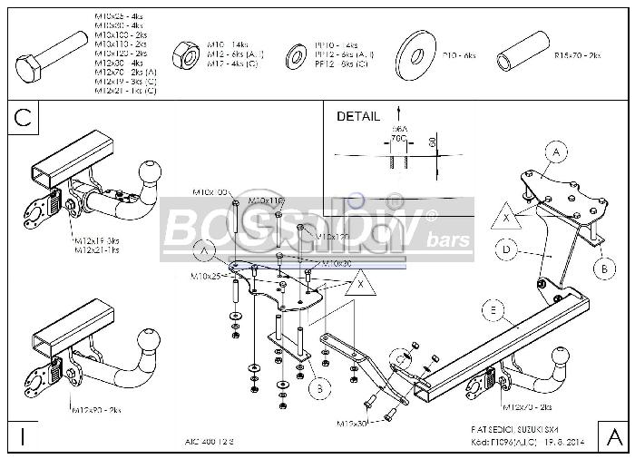 Anhängerkupplung für Suzuki-SX4 - 2013- Geländewagen, Fließheck, 2WD / 4 WD Ausf.:  horizontal