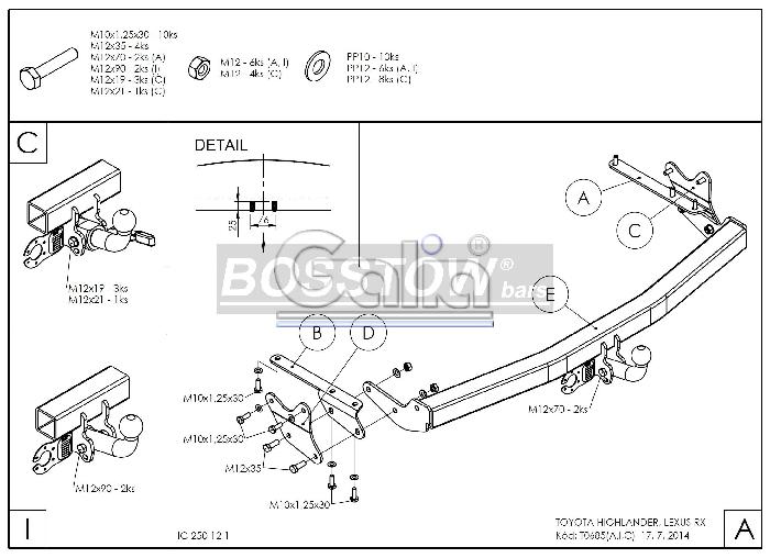 Anhängerkupplung für Toyota-Highlander - 2010-2014 Ausf.:  horizontal