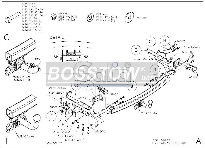 Anhängerkupplung für Toyota-RAV 4 - 2016-2019 V (XA) spez. Hybrid Ausf.:  horizontal