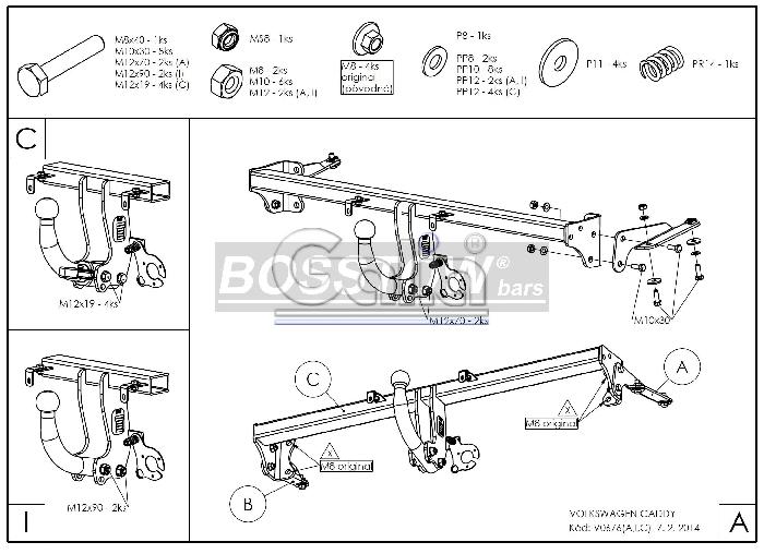 Anhängerkupplung für VW-Caddy - 2004-2015 III, IV, Kasten/ Bus/ Kombi, incl. Life Ausf.:  horizontal