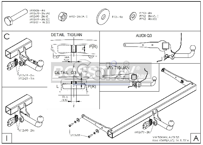 Anhängerkupplung für VW-Tiguan - 2016- Ausf.:  horizontal