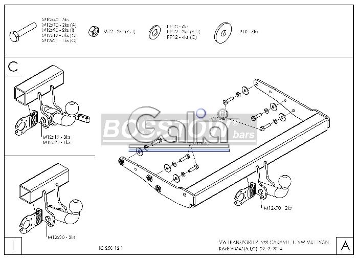 Anhängerkupplung für VW-Transporter - 2015- T6, Kasten Bus Kombi, inkl. 4x4, Fzg. mit E- Satz Vorbereitung Ausf.:  horizontal